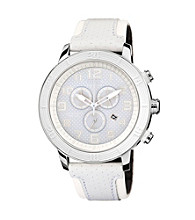 Citizen® Unisex Drive Eco-Drive White Chronograph Strap Watch with White Accented Dial