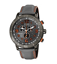 Citizen® Men's Drive Eco-Drive Gray Ion Plated Chronograph Strap with Orange Accents