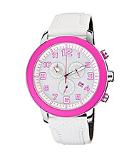 Citizen® Women's Drive Eco-Drive White Chronograph Strap with Pink Accented Dial
