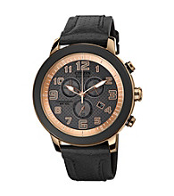Citizen® Men's Drive Eco-Drive Black Ion Plated Chronograph Strap with Rose Goldtone Accents