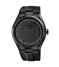Citizen® Men's Drive Eco-Drive Black Ion Plated Date Strap Watch