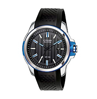 Citizen® Men's Drive Eco-Drive Two Tone Date Strap Watch with Blue Accents