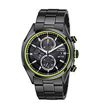 Citizen® Men's Drive Eco-Drive Black Ion Plated Strap with Green Accented Dial