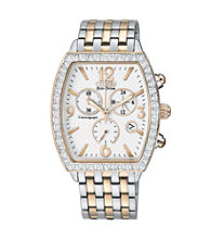 Citizen® Women's Drive Eco-Drive Two Tone Chronograph Watch with Swarovski® Crystal Bezel