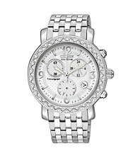 Citizen® Women's Drive Eco-Drive Silvertone Chronograph Watch with Swarovski® Crystal Bezel