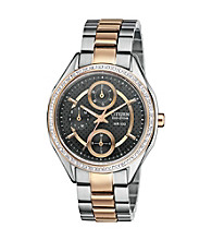 Citizen® Women's Drive Eco-Drive Two Tone with Swarvoski® Crystal Bezel