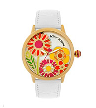 Betsey Johnson® Goldtone/White Leather Watch with Multi-Colored Floral Graphic Dial
