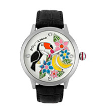 Betsey Johnson® Silvertone Toucan & Floral Graphic Dial Watch with Black Leather Strap