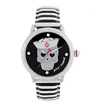 Betsey Johnson® Women's Silvertone/Black and White Leather Strap Watch
