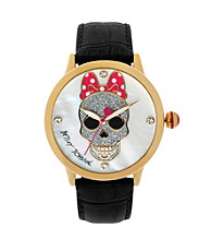 Betsey Johnson® Goldtone/Black Leather Watch with Skull & Bow Graphic Dial