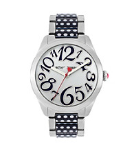 Betsey Johnson® Silvertone/Black & White Polka Dot Bracelet Watch
