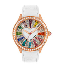 Betsey Johnson® Rose Goldtone/White Watch with Multi-Colored Crystal Set Dial