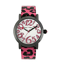 Betsey Johnson® Black/Pink Metallic Leopard Printed Strap Watch