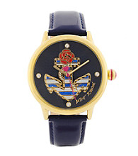 Betsey Johnson® Goldtone/Navy Blue Watch with Striped Anchor Graphic Dial
