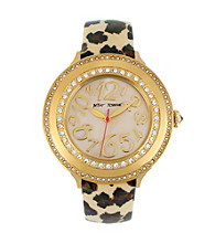 Betsey Johnson® Goldtone with Leopard Print Strap Watch