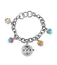 Betsey Johnson® Silvertone/Multi Cupcake Charm Bracelet Watch