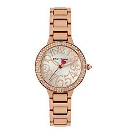 Betsey Johnson® Rose Goldtone Case Set in Crystal Watch
