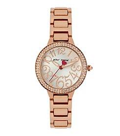 Betsey Johnson® Rose Goldtone Case Set in Crystal Watch