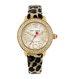 Betsey Johnson® Goldtone/Metallic Leopard Print Strap Watch