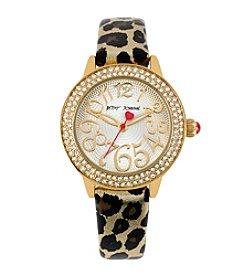 Betsey Johnson® Goldtone/Metallic Leopard Print Strap Watch