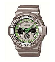 G-Shock Xl Men's Ana-Digi Grey Watch with Green Accents