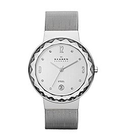 Skagen Denmark Women's Silvertone Mesh Watch with Large Faceted Bezel