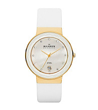 Skagen Denmark Women's White Leather Watch with Faceted Glass Bezel Goldtone Case