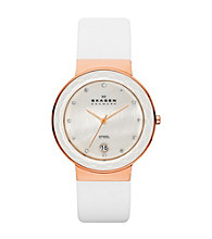Skagen Denmark Women's White Leather Strap Watch with Faceted Glass Bezel Rose Goldtone Case