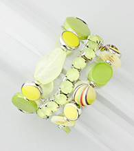 Relativity® Silvertone/Lime Set of Three Bangle Bracelets