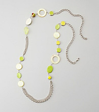 Relativity® Silvertone/Lime Bead & Chain Necklace