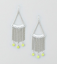 Relativity® Silvertone/Lime/White Earrings