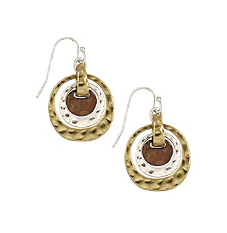Nine West Vintage America Collection® Tri-Tone Orbital Drop Earrings plus size,  plus size fashion plus size appare