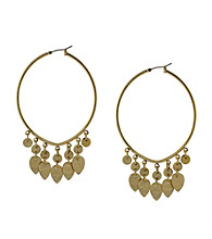 Jessica Simpson Shimmering Oasis Goldtone Hanging Charms Hoop Earrings
