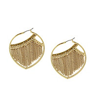 Jessica Simpson Shimmering Oasis Goldtone Fringe Hoop Earrings