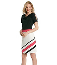 Sandra Darren® Colorblock Crepe Drapeneck Sheath Dress