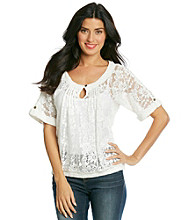 Nine West Vintage America Collection® Petites' Cierra Lace Panel Top