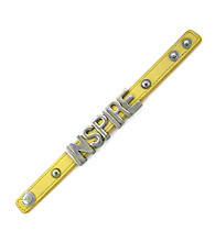 BCBGeneration™ Yellow and Silvertone Inspire Affirmation Bracelet