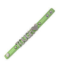 BCBGeneration™ Green and Silvertone Tough Affirmation Bracelet