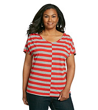 DKNY JEANS® Plus Size Shirred Shoulder Stripe Tee