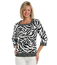 Alfred Dunner® Petites' French Riviera Animal Print Knit Top