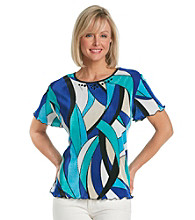 Alfred Dunner® Petites' French Riviera Stain Glass Print Knit Top