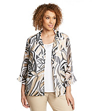 Alfred Dunner® Plus Size Tribal Layered Look Top