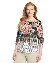 Alfred Dunner® Plus Size Tropical Knit Top