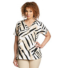 Alfred Dunner® Plus Size Embellished Animal Knit Top