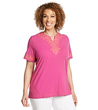 Alfred Dunner® Plus Size Contrast Embroidered Top