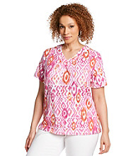 Alfred Dunner® Plus Size Ikat Diamond Knit Top