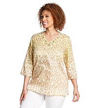 Alfred Dunner® Plus Size Ombre Animal Woven Tunic