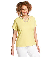 Alfred Dunner® Plus Size Embroidered Neckline Tee