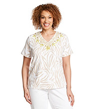 Alfred Dunner® Plus Size Beaded Zebra Print Top