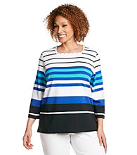 Alfred Dunner® Plus Size Stripe Knit Top